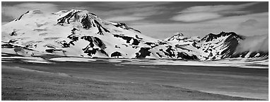 Mt Meigeck rising above floor of the Valley of Ten Thousand Smoke. Katmai National Park (Panoramic black and white)
