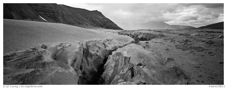 Volcanic landscape with deep gorge cut into ash valley. Katmai National Park (black and white)