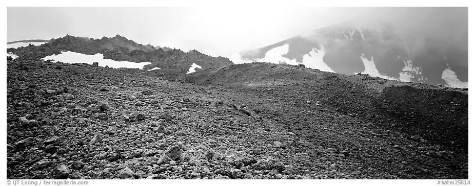 Pumice slopes and misty mountains. Katmai National Park (black and white)