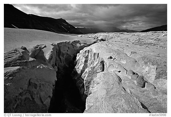 Deep gorge carved by the Lethe River, Valley of Ten Thousand Smokes. Katmai National Park (black and white)