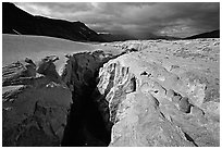 Deep gorge carved by the Lethe River, Valley of Ten Thousand Smokes. Katmai National Park, Alaska, USA. (black and white)