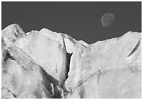 Seracs and moon, Exit Glacier. Kenai Fjords National Park, Alaska, USA. (black and white)