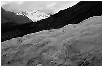 Alaskan Glacier seen from the side, and peaks. Kenai Fjords National Park ( black and white)