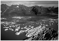 Aerial view of Bear Glacier and lagoon. Kenai Fjords National Park, Alaska, USA. (black and white)