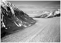 Aerial view of large Alaskan glacier. Kenai Fjords National Park, Alaska, USA. (black and white)