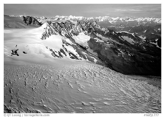 Aerial view of Aialik glacier. Kenai Fjords National Park (black and white)