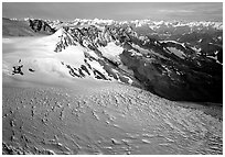 Aerial view of Aialik glacier. Kenai Fjords National Park, Alaska, USA. (black and white)