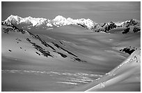 Aerial view of Harding icefield. Kenai Fjords National Park, Alaska, USA. (black and white)