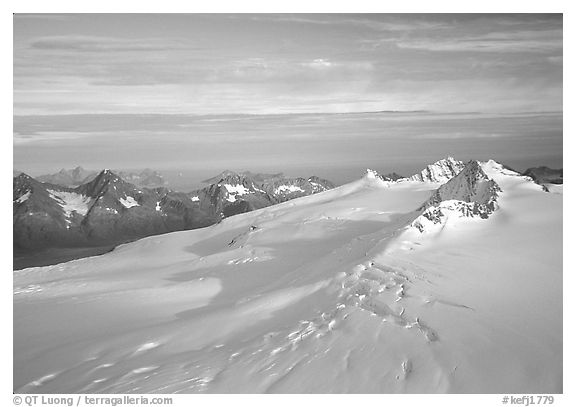 Aerial view of Harding icefield, fjords in the backgound. Kenai Fjords National Park (black and white)