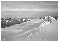 Aerial view of Harding icefield, fjords in the backgound. Kenai Fjords National Park, Alaska, USA. (black and white)