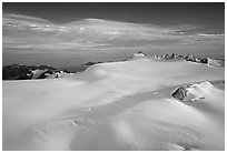 Aerial view of vast glacial system and fjords. Kenai Fjords National Park, Alaska, USA. (black and white)