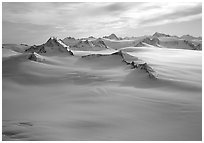 Aerial view of Harding icefield and Nunataks. Kenai Fjords National Park, Alaska, USA. (black and white)