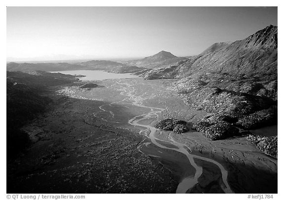 Aerial view of river. Kenai Fjords National Park (black and white)
