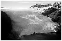 Aerial view of Aialik Glacier front. Kenai Fjords National Park, Alaska, USA. (black and white)