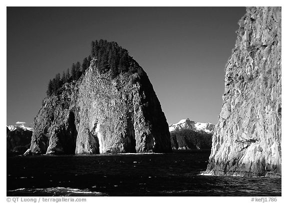 Islands in Aialik Bay. Kenai Fjords National Park (black and white)