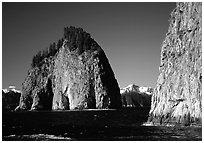 Islands in Aialik Bay. Kenai Fjords National Park, Alaska, USA. (black and white)