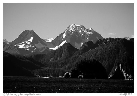 Mountains seen from Aialik Bay. Kenai Fjords National Park (black and white)