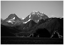 Mountains seen from Aialik Bay. Kenai Fjords National Park, Alaska, USA. (black and white)