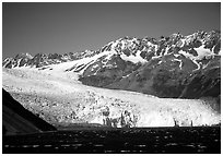 Tidewater glacier and mountains. Kenai Fjords National Park, Alaska, USA. (black and white)