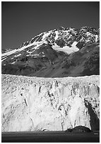 Aialik Glacier and mountains. Kenai Fjords National Park, Alaska, USA. (black and white)
