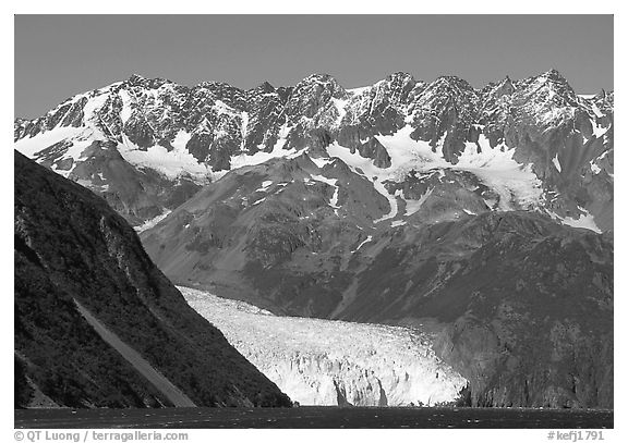 Aialik Glacier, fjord,  and steep mountains. Kenai Fjords National Park (black and white)
