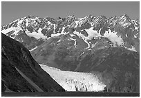 Aialik Glacier, fjord,  and steep mountains. Kenai Fjords National Park ( black and white)