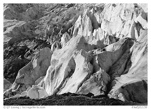 Chaotic forms on the front of Exit Glacier. Kenai Fjords  National Park (black and white)