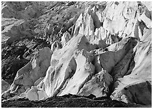 Chaotic forms on the front of Exit Glacier. Kenai Fjords National Park ( black and white)