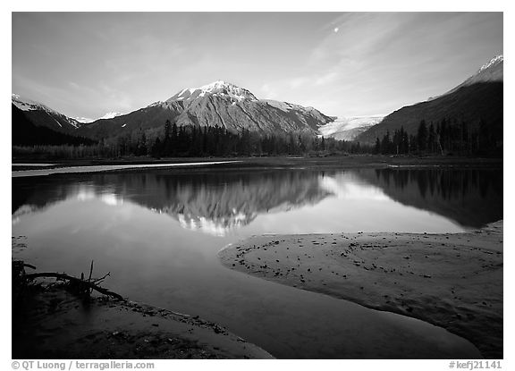 Resurrection River and Exit Glacier, early morning. Kenai Fjords  National Park (black and white)