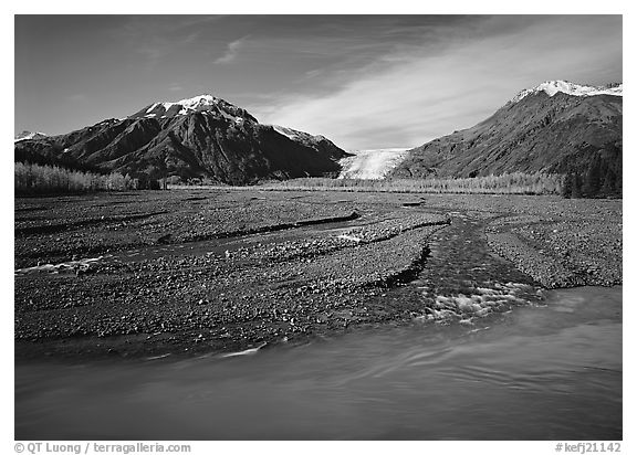 Turquoise Resurrection River and Exit Glacier. Kenai Fjords National Park (black and white)