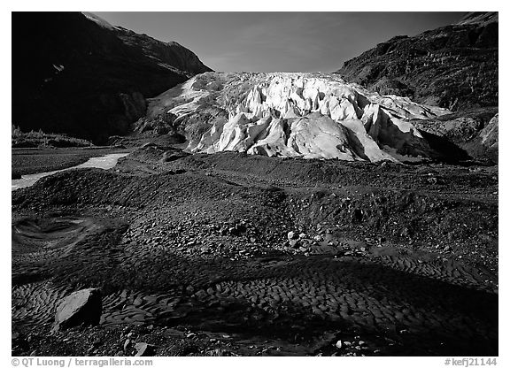 Dark glacial plain floor and Exit Glacier. Kenai Fjords National Park (black and white)