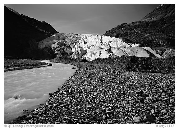 Exit Glacier front and glacial stream. Kenai Fjords National Park (black and white)