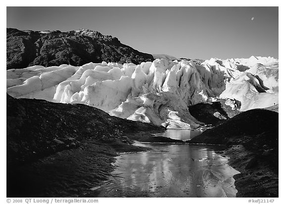 Frozen glacial pond and front of Exit Glacier, early morning. Kenai Fjords National Park (black and white)