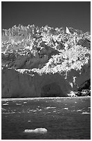 Front of Aialik Glacier, Aialik Bay. Kenai Fjords National Park, Alaska, USA. (black and white)