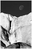 Seracs of Exit Glacier and moon. Kenai Fjords National Park ( black and white)