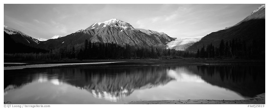 Mountains and glacier reflected in river. Kenai Fjords National Park (black and white)