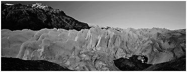 Glacier with blue ice. Kenai Fjords National Park (Panoramic black and white)