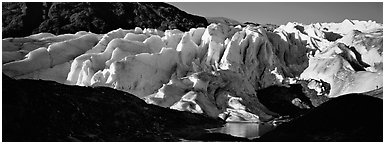 Glacier landscape. Kenai Fjords National Park (Panoramic black and white)