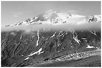 Exit Glacier, low cloud, and peak. Kenai Fjords National Park, Alaska, USA. (black and white)