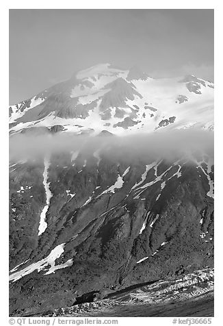 Glacier, and cloud hanging at mid-height of peak. Kenai Fjords National Park (black and white)