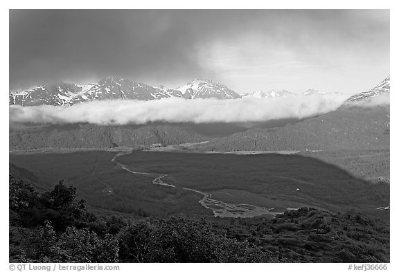 Outwash plain and Resurection Mountains, late afternoon. Kenai Fjords National Park (black and white)