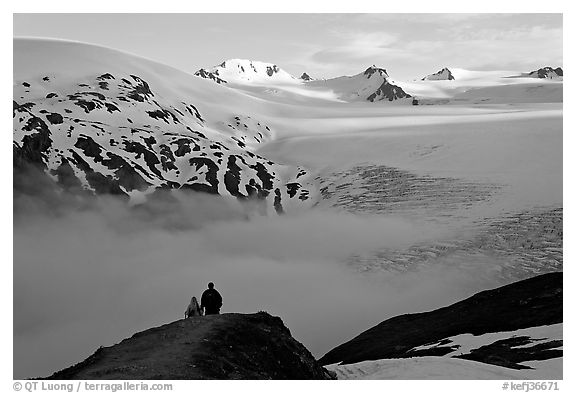 Two people hiking down Harding Ice Field trail. Kenai Fjords National Park (black and white)