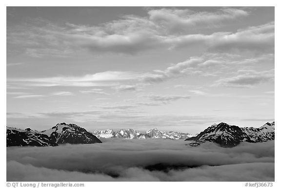 Sea of clouds and Resurection Mountains. Kenai Fjords National Park (black and white)
