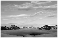 Sea of clouds and Resurection Mountains. Kenai Fjords National Park, Alaska, USA. (black and white)