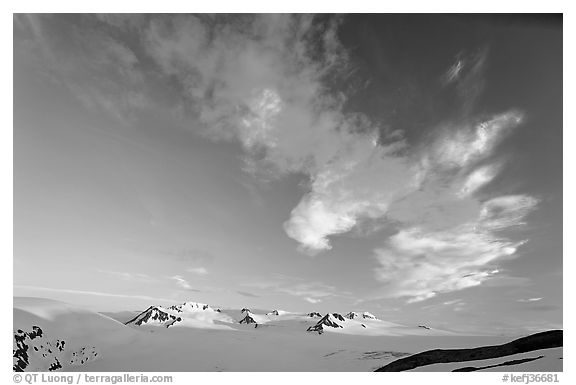 Harding Icefield and clouds, sunset. Kenai Fjords National Park (black and white)