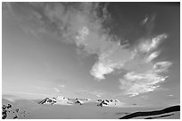 Harding Icefield and clouds, sunset. Kenai Fjords National Park, Alaska, USA. (black and white)