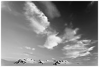 Nunataks and clouds at sunset. Kenai Fjords National Park ( black and white)