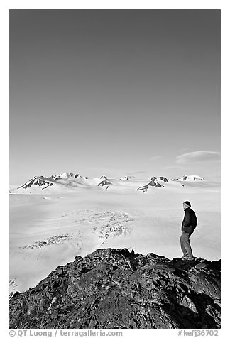 Hiker looking at the Harding icefield. Kenai Fjords National Park (black and white)