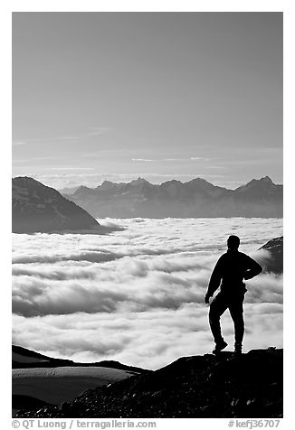 Man above a sea of clouds. Kenai Fjords National Park (black and white)