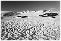 Snow cups and Harding icefield. Kenai Fjords National Park, Alaska, USA. (black and white)